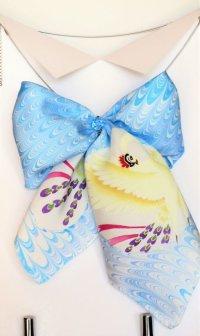 リボンスカーフ 火の鳥 (ブルー・ピンク・モノクロ)